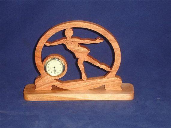 Figure Skating Ice Skater Desk Clock Handmade From Cherry Wood