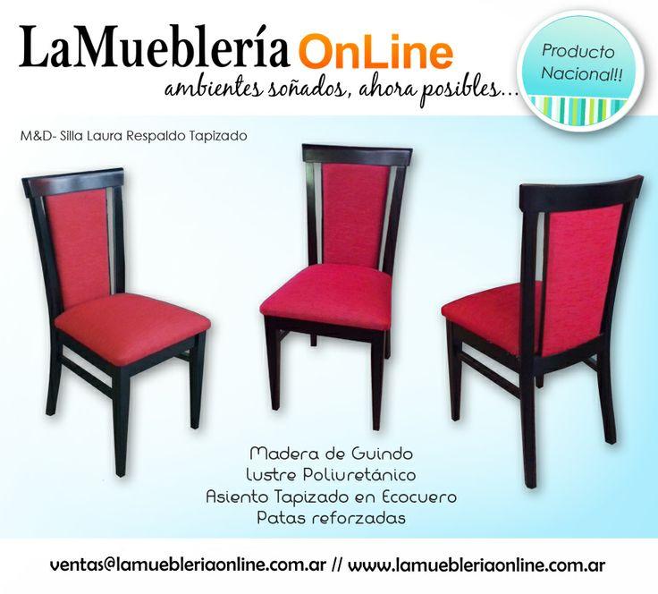 Sillas laura respaldo tapizado madera de guindo para - Tapizado de sillas precio ...