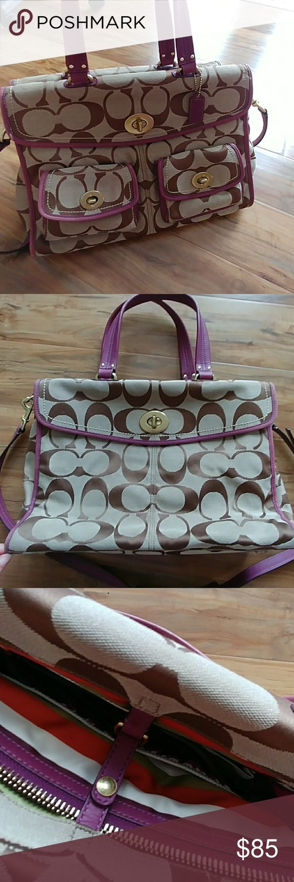 """Coach briefcase Good conditions, the purple color at the bottom and side little little bit faded.  14""""x10""""x4"""" Coach Bags Satchels"""