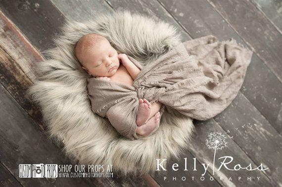 Wolf Gray/Brown Basket Stuffer Long Faux Sheepskin Faux Fur Newborn Photography Props, Newborn Photo Props, Fabric, Soft, Long, Baby Props