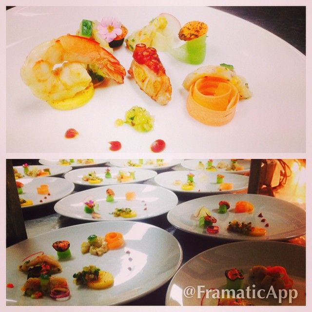 First course yellow fun king fish ceviche, tiger prawn, octopus and avocado sorbet. #canberra #fireandspice