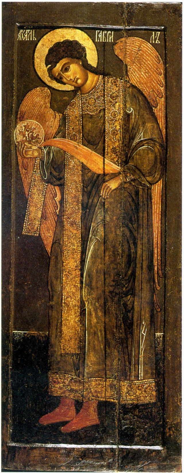 Archangel Gabriel. The icon from the Deesis. Workshop of the Trinity-Sergius Monastery in Clement settlement. The first half of the XVII century.