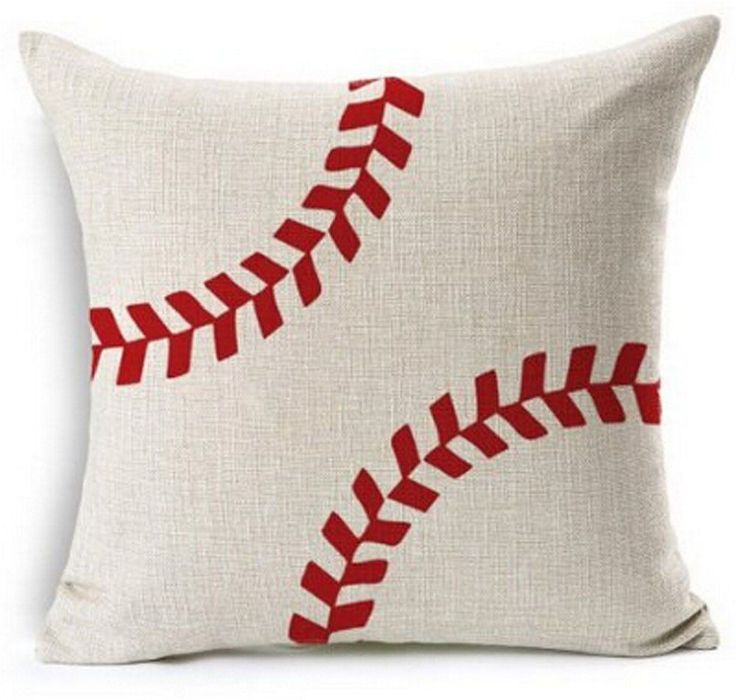 Baseball Design Cotton Linen Beige Throw Pillow Case Cushion Cover Home Office D #Andreannie