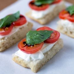 ★Tea Time | Tomato, Mozzarella, & Basil Tea Sandwich. These were great! We added a bit of EVOO to the bread.