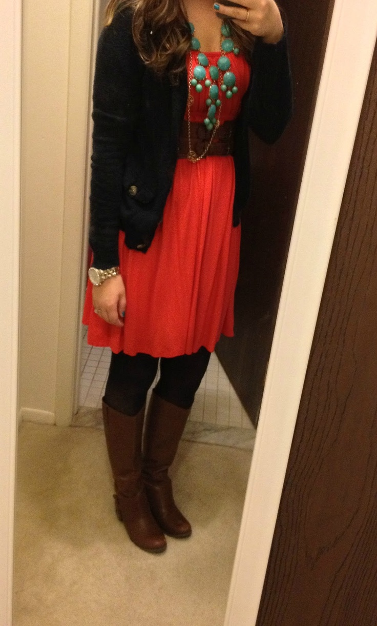 fall outfit.  Coral dress, tights, boots and sweater!