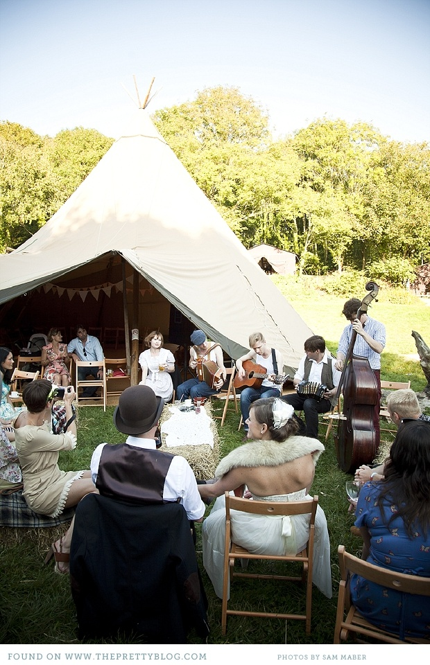 Have chairs set up to enjoy music or entertainment at the reception for your guests #glamping #wedding