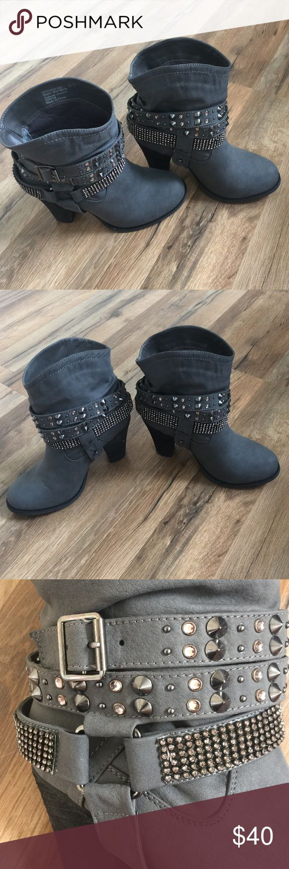 Studded ankle boots Gray studded ankle boots 6.5. (Brand: Hit Rated). Great condition /like new hot rated Shoes Ankle Boots & Booties