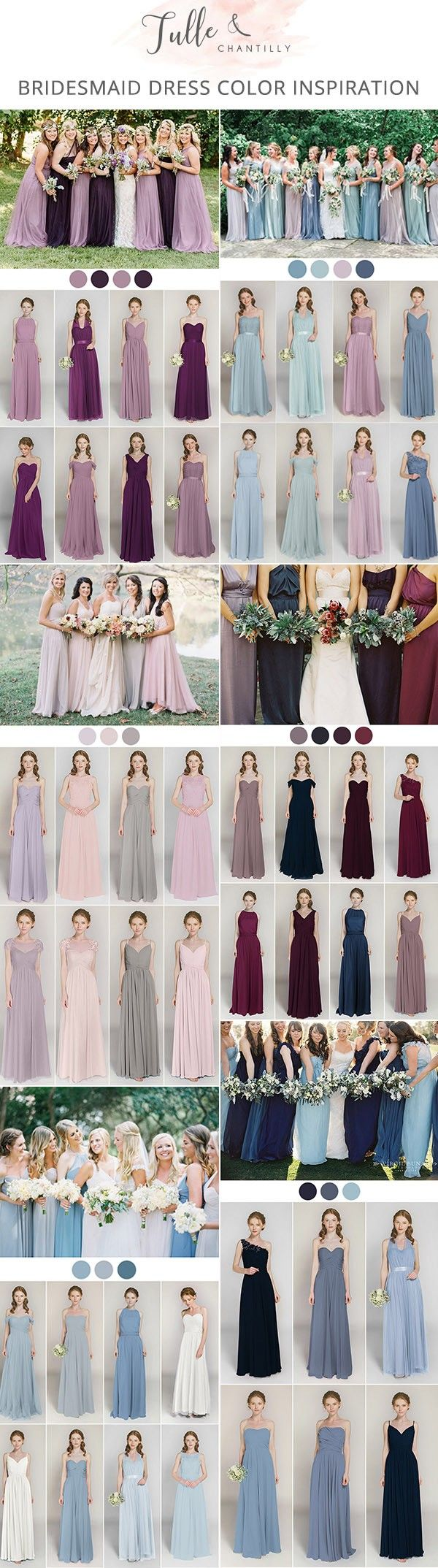 mix and match bridesmaid dresses inspired by popular wedding colors