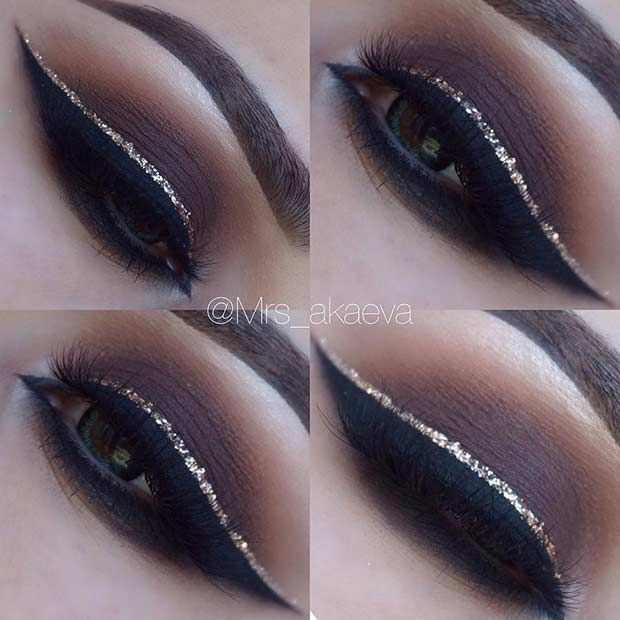 Brown Smokey Eye with a Pop of Glitter