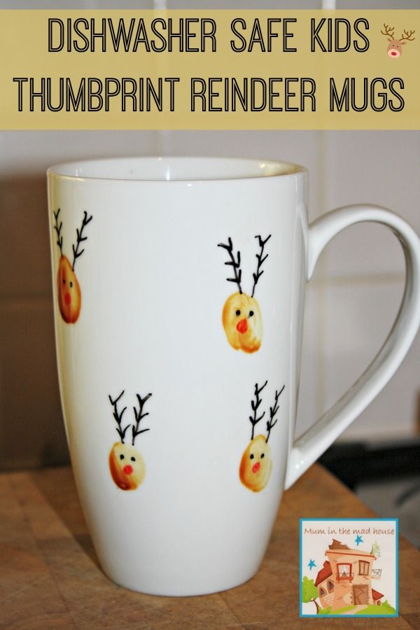 Dishwasher safe kids thumbprint reindeer mugs, a perfect kid made gift from Mum in the Mad House