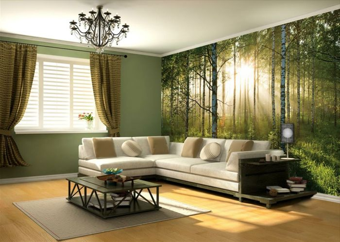 a nice lounge with trompe l'oeil wallpaper, beige carpet, green wall, long curtains