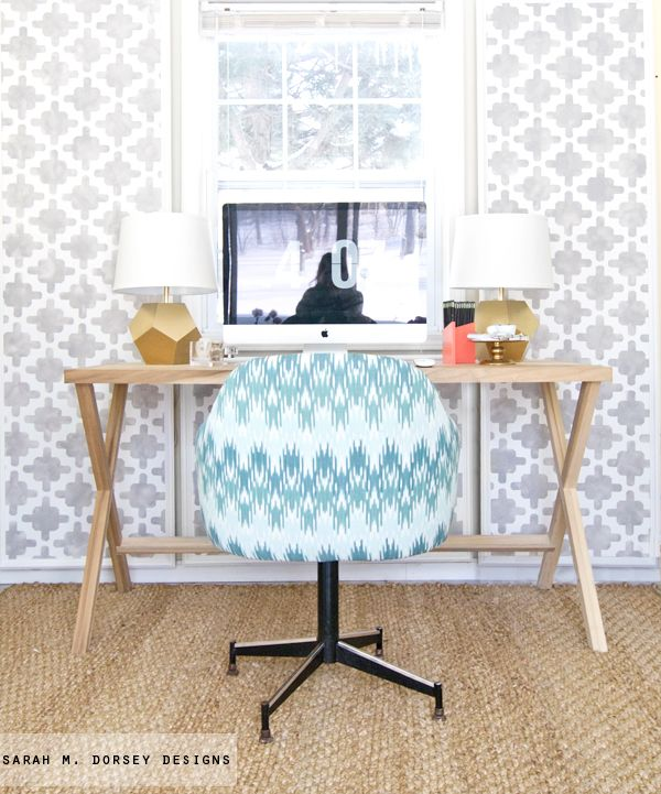 sarah m. dorsey designs: Ikat Chevron Office Chair ReUpholstery