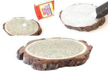 DIY Champagne Glitter Wood Coasters