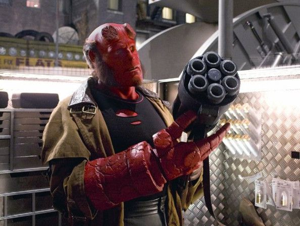 "Ron Perlman, 'Hellboy' Visionary director Guillermo del Toro didn't rely on CGI to create his Hellboy films. Instead, he had Ron Perlman sit in a makeup chair for long hours every day until he was transformed into the total bad ass you see pictured here. ""The actual time he was sitting in the chair was usually two and a half hours,"""