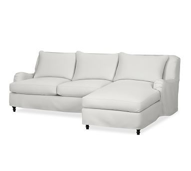 carlisle slipcovered left arm sofa with chaise sectional polyester wrapped cushions performance - Crypton Sofa
