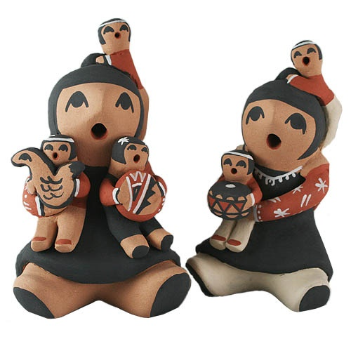 """Jemez Pueblo Storytellers - Native American Indian storyteller dolls are a relatively new form of pottery art. The first storyteller figurine was crafted by Cochiti Pueblo (NM) potter Helen Cordero in 1963. The figure represented her grandfather telling old Native American Indian tales to the Pueblo children.    The term """"storyteller"""" has become generic and is now used to describe not only male figures, but females, clowns, mudheads, frogs, owls, turtles, coyotes ...nearly any figure."""