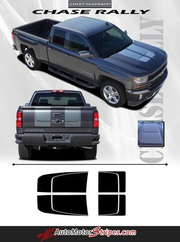 2016-2017 Chevy Silverado 1500 Chase Rally Edition Style Truck Hood Racing Vinyl Graphics 3M Stripes Kit