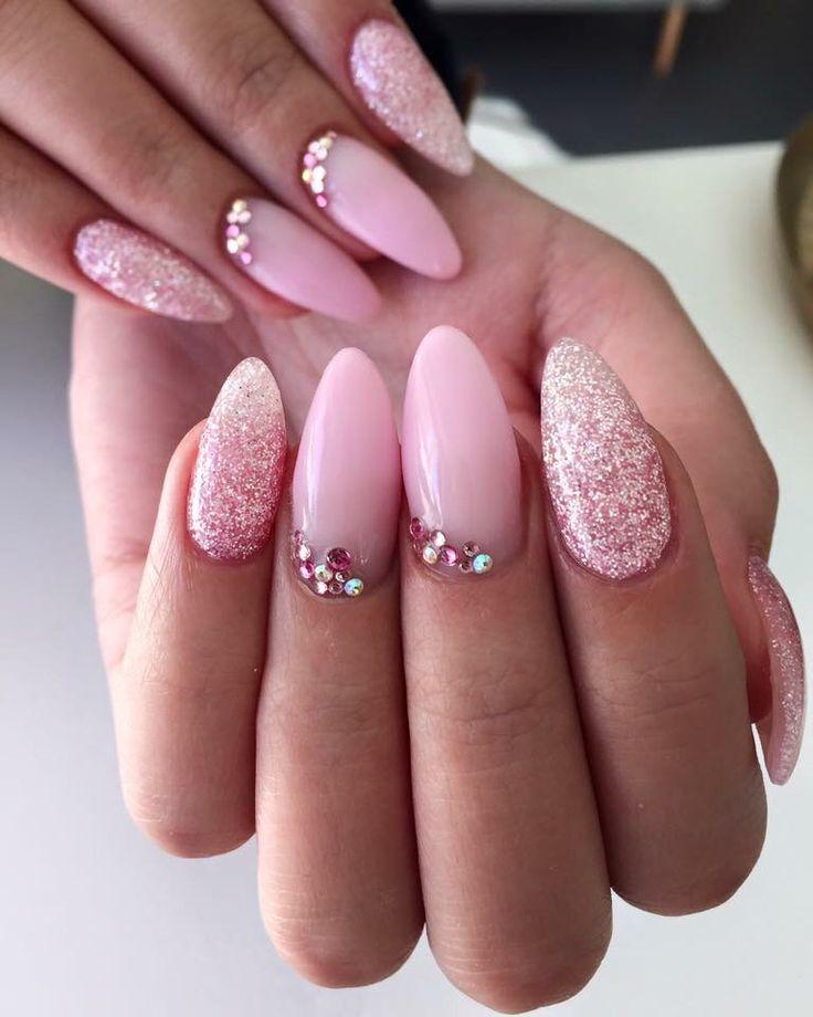 Pink Sugar coated nails