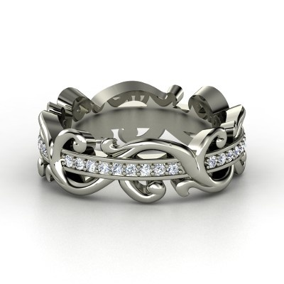 14K White Gold Ring with Diamond  >> Unique and beautiful!