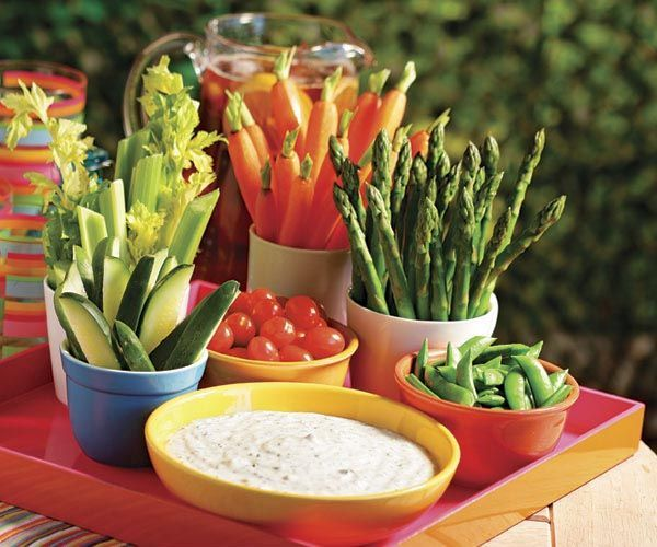 I like the veg served this way. Farmers' Market Crudités with Buttermilk Herb Dip Recipe
