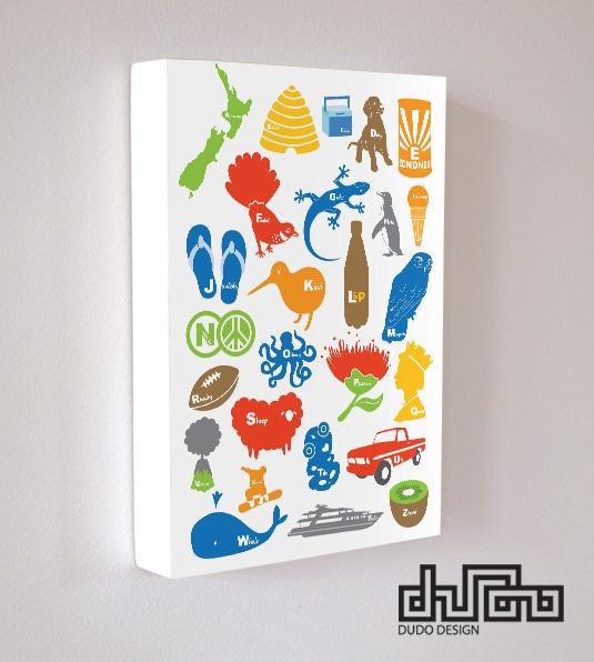 "POP range-Art block ""Kiwiana Alphabets"" by DUDO"