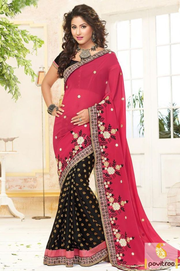 Get shiny charm by wearing this beautiful Akshara special pink black jacquard designer party wear saree online in lowest price. Purchase Hina Khan wedding wear sarees online by wholesale manufacturer Fashion Diffusionz Pvt. Ltd. at pavitraa fashion. #saree, #designersaree, #weddingwearsaree, #partywearsaree, #sareeonline, #sareewithblouse, #akshrasarees, #hinakhansarees More : http://www.pavitraa.in/store/designer-collection/  Call / WhatsApp : +91-76982-34040  E-mail: info@pavitraa.in