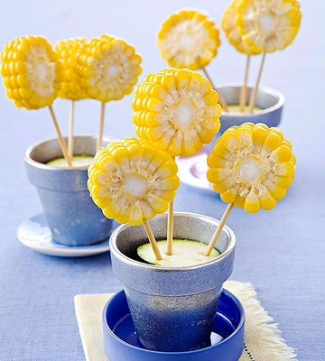 The natural sweetness of corn makes it an easier sell than most other vegetables. Plus, if you turn the cobs into these adorable corn flowers, your kids will be begging to try them.