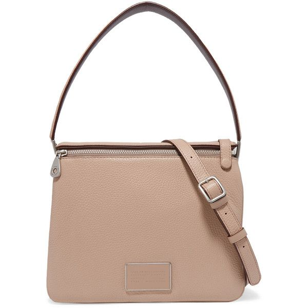 Marc by Marc Jacobs Large textured-leather shoulder bag (£238) ❤ liked on Polyvore featuring bags, handbags, shoulder bags, neutral, snap purse, zipper handbag, zip shoulder bag, white shoulder bag and marc by marc jacobs handbags