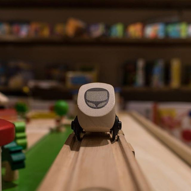 All aboard!!  Wooden train by PLAN TOYS