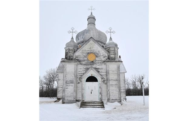 The Spaca Moskalyk Ukrainian Catholic church, which may be burned down due to lack of funds to repair it, north of Mundare, Alberta, Canada.