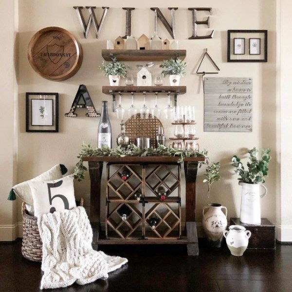 Bouziane 5 Bottle Wall Mounted 3 Piece Wine Bottle Rack In 2020 Wine Wall Decor Wine Decor Kitchen Farm House Living Room #wine #rack #in #living #room