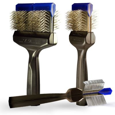 This firm bristle brush is recommended for thick and coarse coated dogs and horses. Breed type recommendations: Akita, Alaskan Malamute, Bermese Mountain Dog, Chow, Collies, Newfoundland, Portugesse Water Dog, Golden Retriever, Samoyed, Giant Schnauzer, Sheepdogs, Shepherds, Siberian Huskies, Terriers. $79