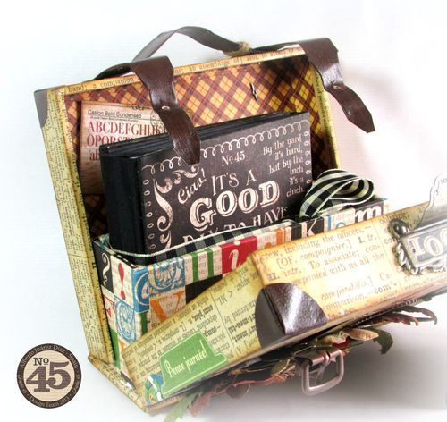 This inside of Alberto's suitcase with a Typography mini album inside! #graphic45 #minialbums #alteredart