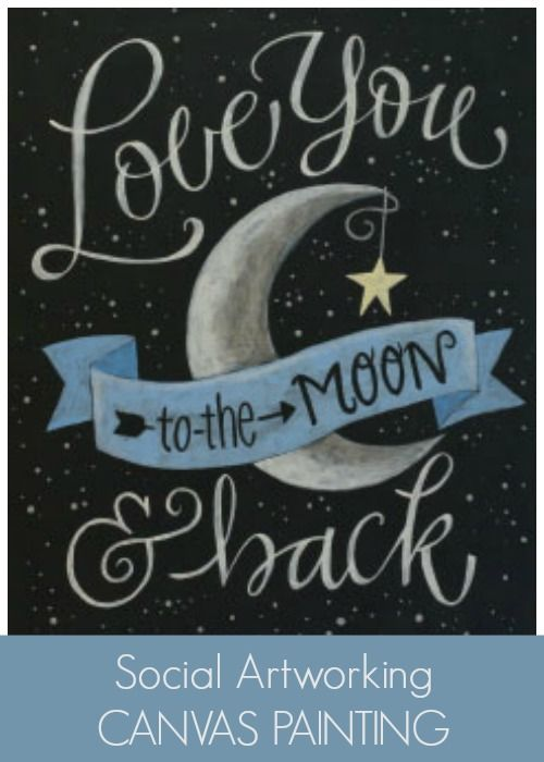 Social Artworking Love You to the Moon and Back | What a perfect piece of canvas word art for a nursery. Change out the color on the banner to match the room's decor, and you have a great gift. #SocialArtworking