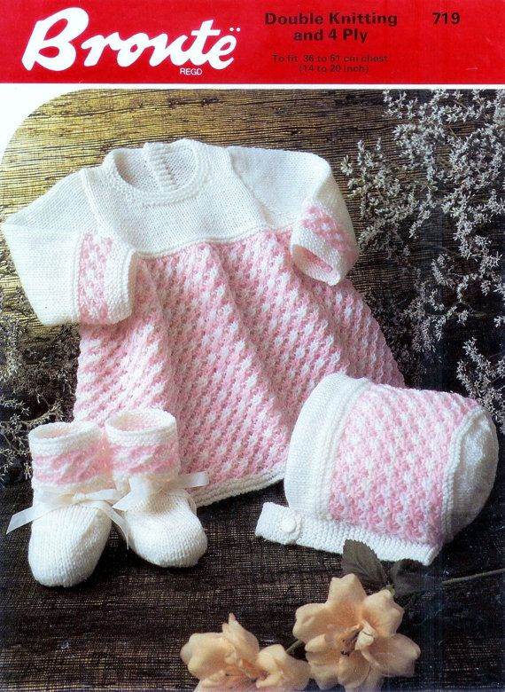 Baby 4ply and DK 8ply Dress Bonnet and Bootees 14 by avintagescot