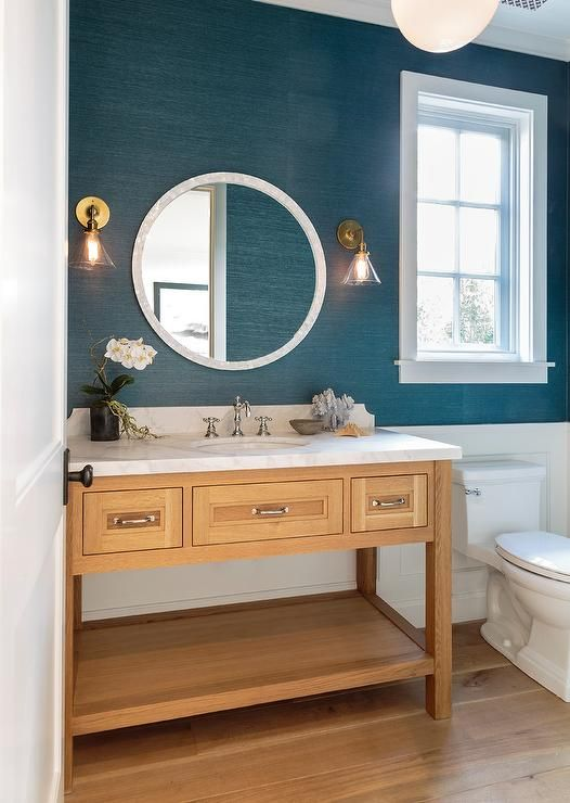 blue grasscloth wallpaper - powder room