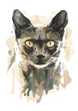 Cat of The Darkness - Watercolor Vector « www.toniagustian.com