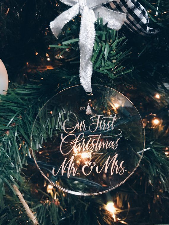 Our First Christmas As Mr And Mrs 2017 Wedding Christmas Ornament Holiday Ornament Acrylic Ornament Handmade Ornament Wedding Christmas Ornaments Christmas Ornaments Christmas Wedding
