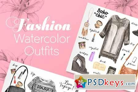 100 watercolor fashion elements 141834