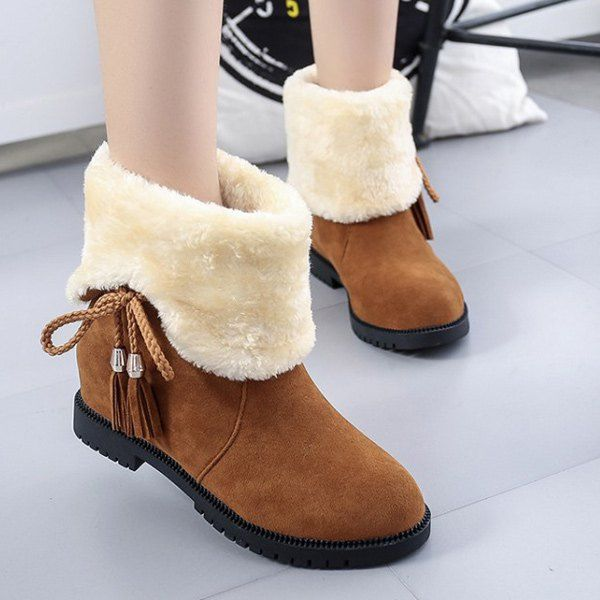 Tassel Fold Down Fuzzy Boots