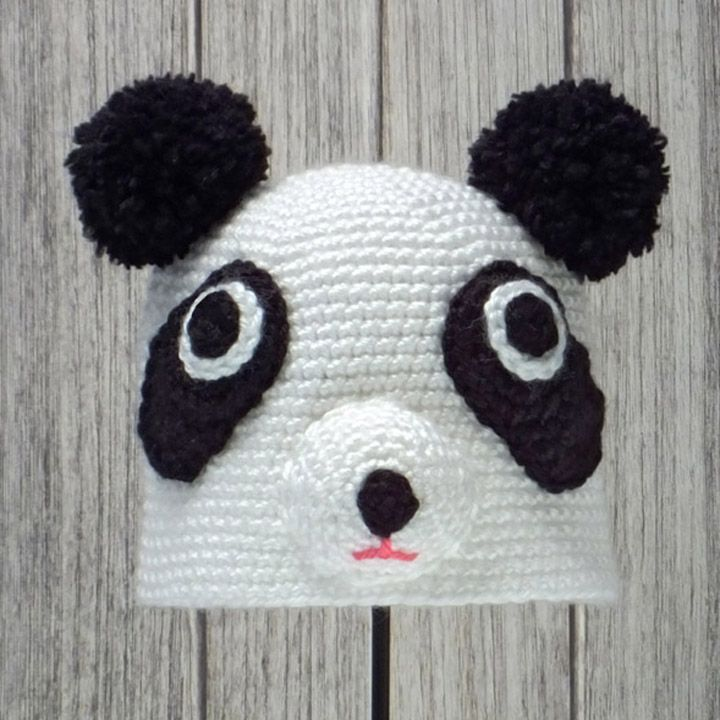 "PANDA HAT for BABIES and CHILDREN ❤ Crochet pattern in ""Amigurumi Animal Hats"" by Linda Wright. http://amazon.com/dp/098009237X/"