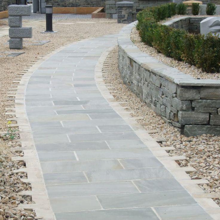Grey Sandstone Paving Sandstone Paving Front Path