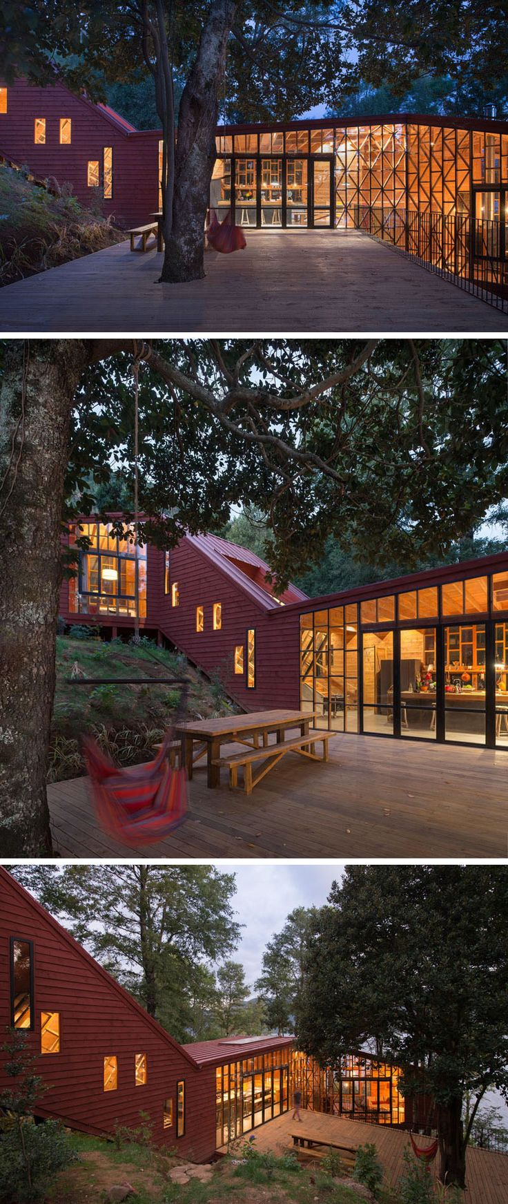 This home has a large deck just of the kitchen, that's been built around a tree and provides a space for outdoor dining and entertaining.