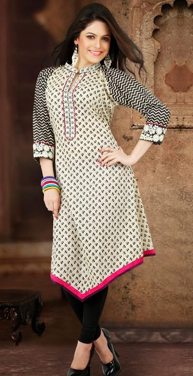 USD 47.75 Cream Resham Work Cotton Designer Kurti 27100