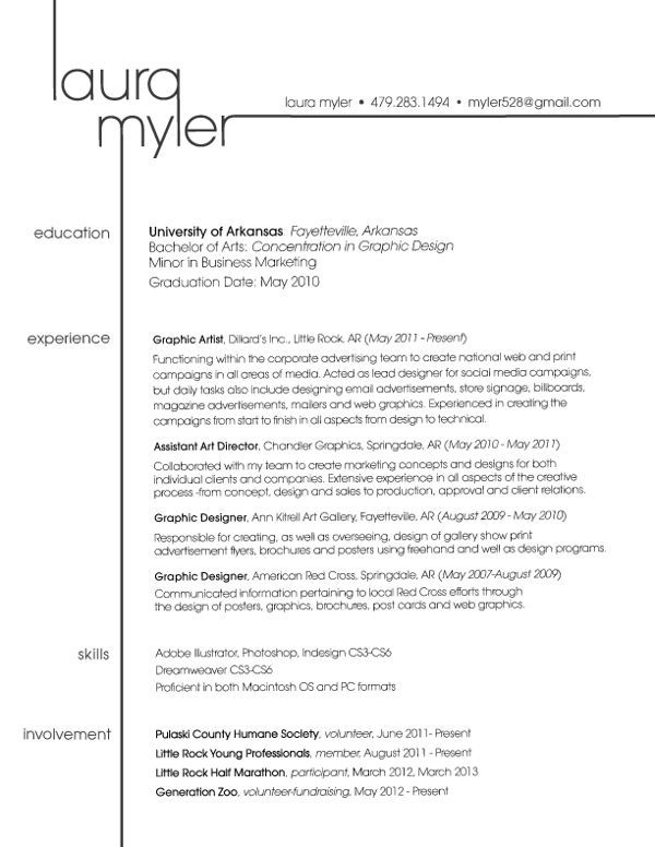 Great use of a name to become a branding style within the layout of the resume! Creative Resume by Laura Myler, via Behance For more resume inspirations click here: http://www.pinterest.com/sheppardaaron/-design-resumes/  Creative Resume Design, Resume Style, Resume Design, Curriculum Vitae, CV, Resume Template, Resumes, Resume Format.