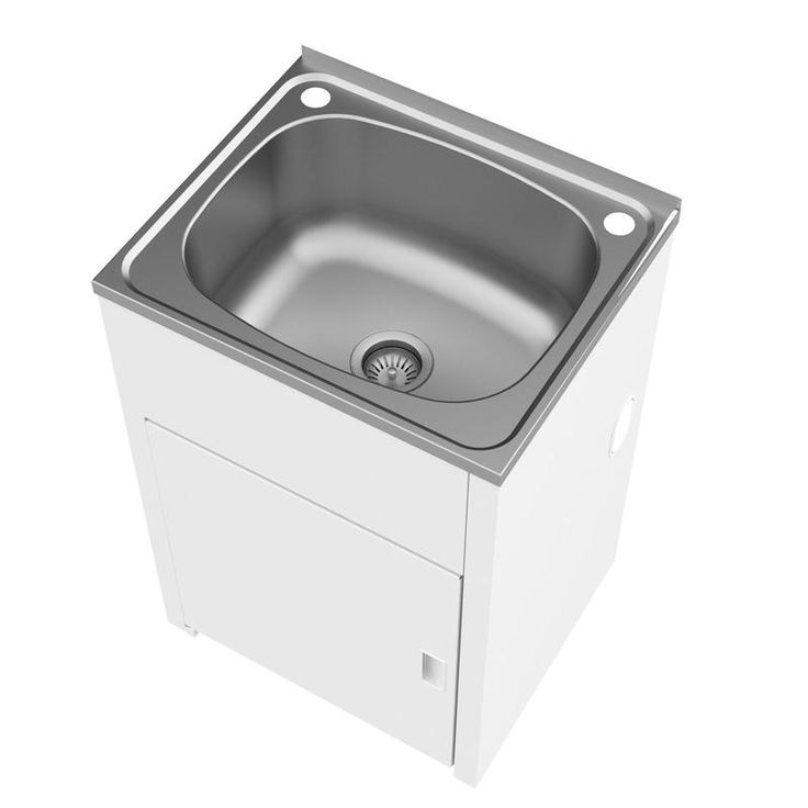Clark 42L Stainless Steel Laundry Trough And White Cabinet I/N 5140100   Bunnings Warehouse