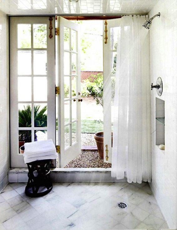 Indoor/outdoor shower.