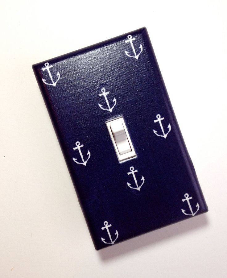 Coles bathroom Anchor Light Switch Plate Cover / Nautical Kids Room / Baby Boy / Bathroom / Kitchen / Out to Sea Navy by Michael Miller. $10.00, via Etsy.