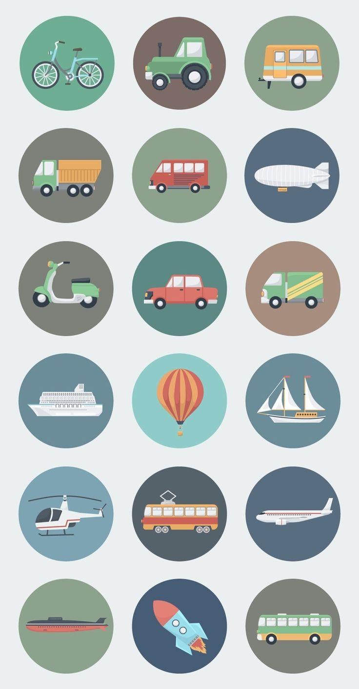 18 Transport Circle Icons in Flat Style #flaticon #vectorgraphcis #flatworkspaces #flatvectormockups #megabundle