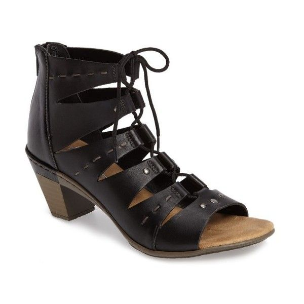Women's Rieker Antistress Aileen 99 Ghillie Cage Sandal ($130) ❤ liked on Polyvore featuring shoes, sandals, black leather, leather sandals, leather shoes, caged shoes, caged sandals and rieker sandals
